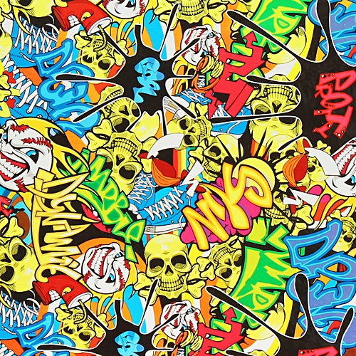 Colorful Skulls PVA Hydrographic Water Transfer Printing Hydro Helmet Film Decor