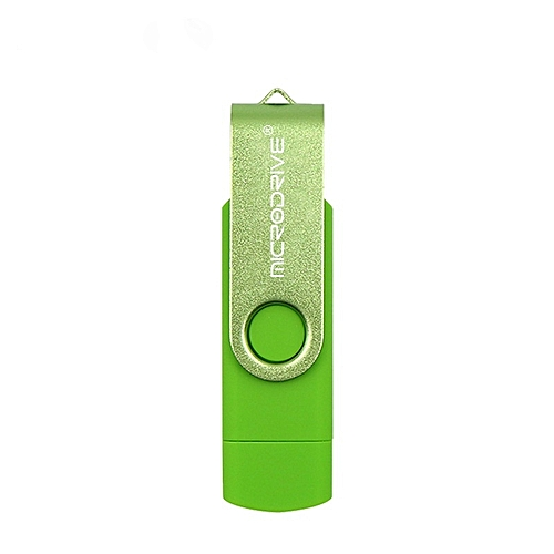 MicroDrive 32GB USB 2.0 Mobile Computer Dual-use Rotating OTG Metal U Disk (Green)