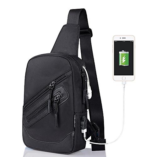 56bcc49b2e8 Generic Multi-Function Canvas Black Chest Bag Outdoor Sports Shoulder Bag