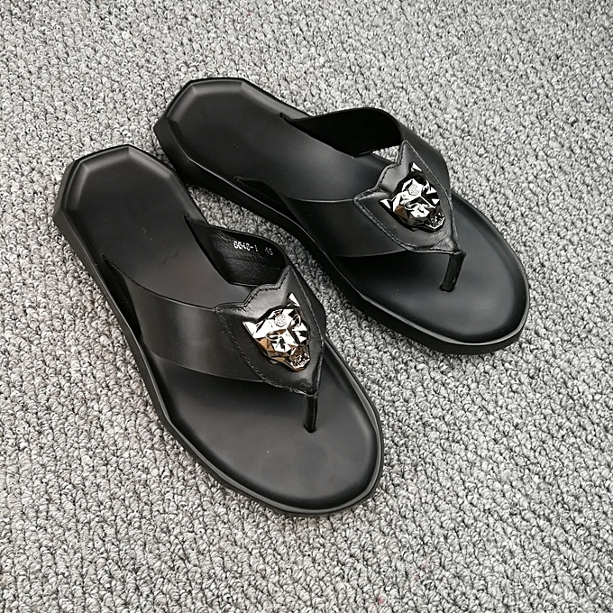 dc8b58073227 New Leisure Male Sandals Comfortable Summer Leather Slippers Men Size 38-46  Black