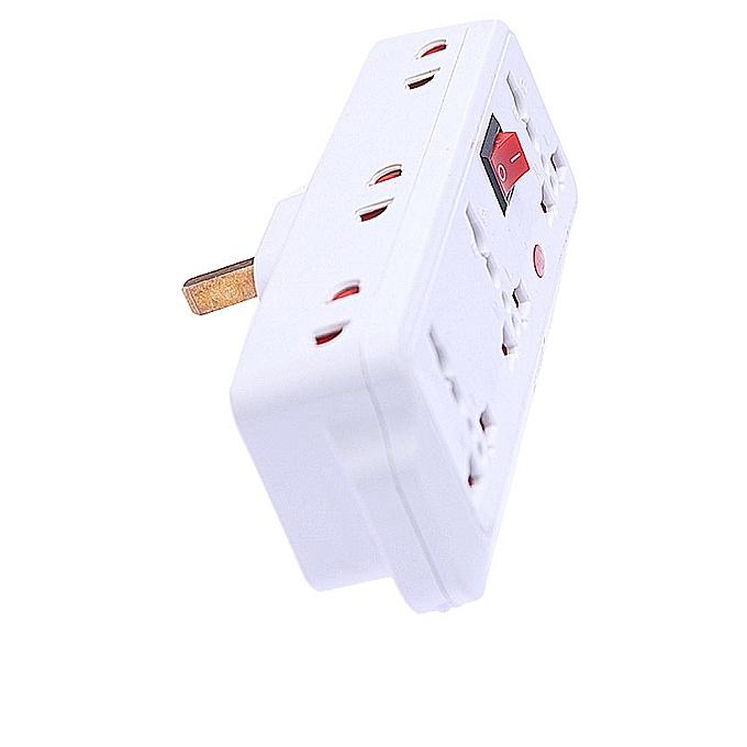 6 Way Plug Adaptor/Adapter - White