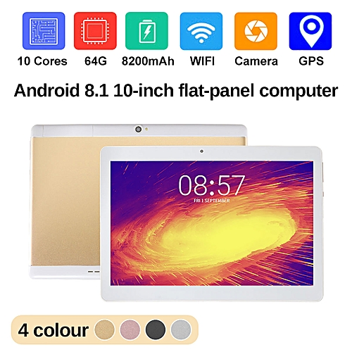 NEW 10.1'' Tablet PC Android 8.0 Octa Core 64GB 10 Inch HD WIFI 2 SIM 3G Phablet-Gold