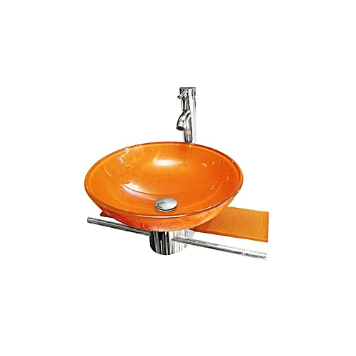 Glass Hanging Wash Hand Basin- Orange