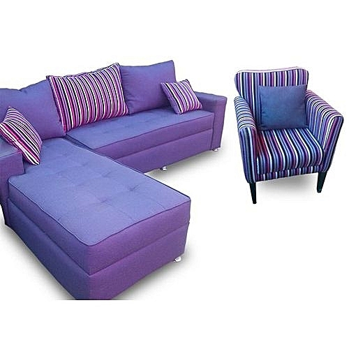 L-Shaped 5 Seater+Single Arm Sofa Purple And Strip (Delivery Only To Lagos Residence)