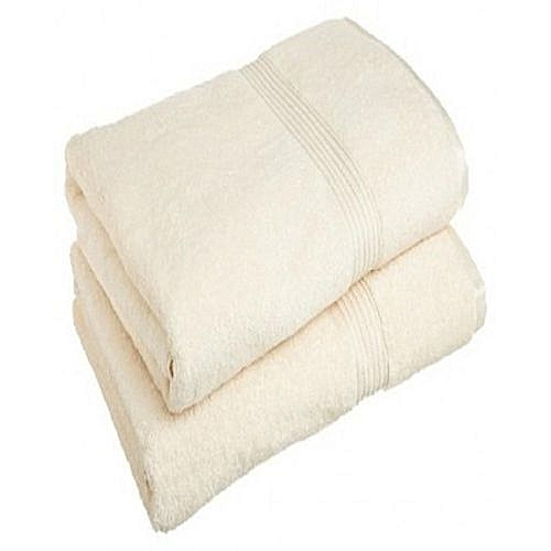 2 Set Of Large Bath Towel - Cream