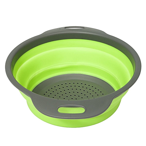 Kitchen Collapsible Foldable Silicone Colander Fruit Vegetable Strainer Basket # Green