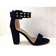 0f64f74228 Ankle Double Buckle Strap Block Heel Sandal - Black