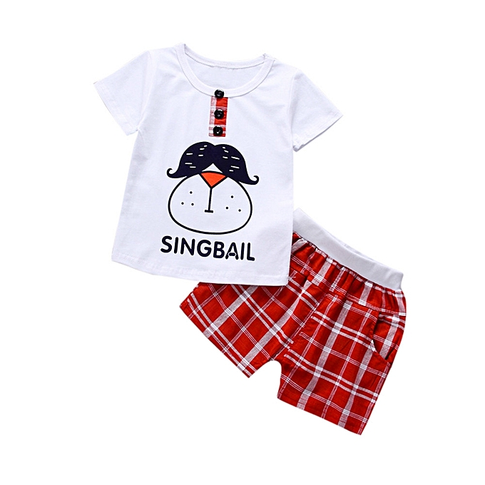 a9b8c3b70a59 Comfortable Toddler Kids Baby Boys Outfits Cartoon Printing T-shirt+Plaid  Pants Clothes Set