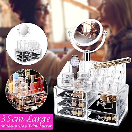 Clear Acrylic Cosmetic Organizer Makeup Mirror Case Jewelry Storage Holder Box