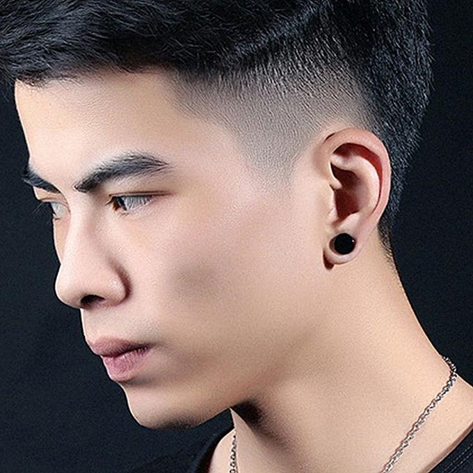 2b0fad123 New Men Stainless Steel Round Magnetic Clip On Ear Stud No Piercing Earrings -Black