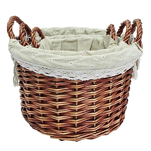 New Set Of 3 Oval Hand-woven Willow Wicker Storage Basket Organizer W/ Lining