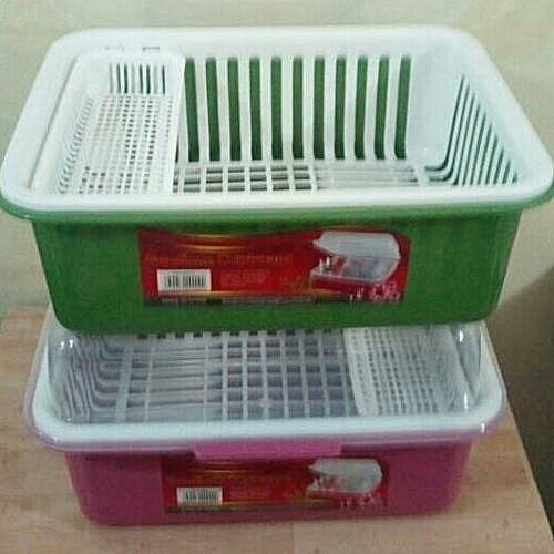 Dish Drainer With Transparent Cover- Multi Colour