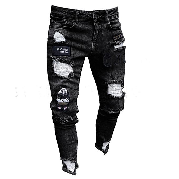 23493ee54e0 Generic Men s Ripped Jeans Destroyed Frayed Slim Fit Denim Pants ...