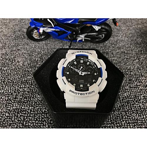 Fashion G-SHOCK Men's Resin Strap Watch GA-100-5A1 Black/White
