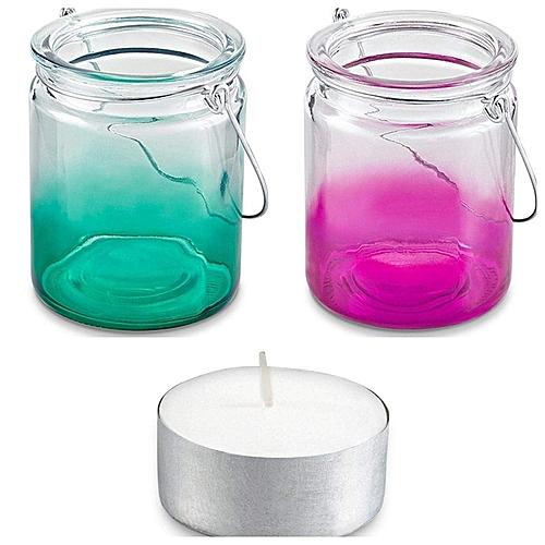Set Of 2 Hanging Tealight Holder, Pink/Turquoise