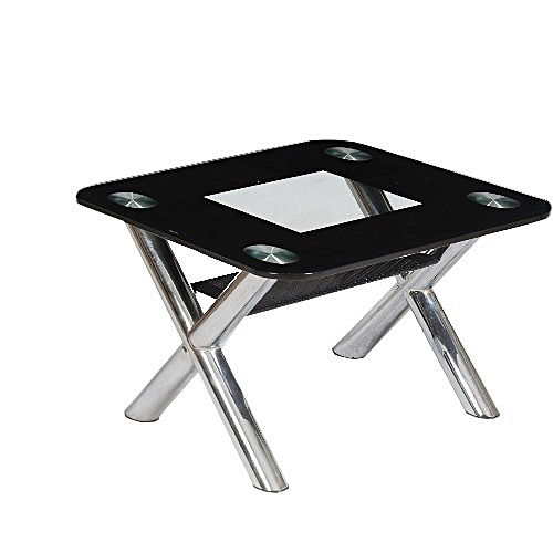 Home Furniture Black Tempered Glass Centre Table With Chrome Construction