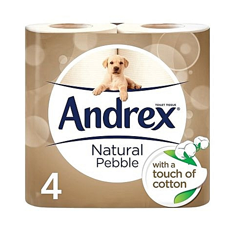Natural Pebble Toilet Roll Tissue Paper, 4 Rolls (Pack Of 6)