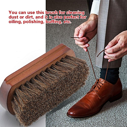 Shoes Boots Polishing Buffing Cleaning Brush With Wooden Base Dust Dirt Removal Shoe Accessory