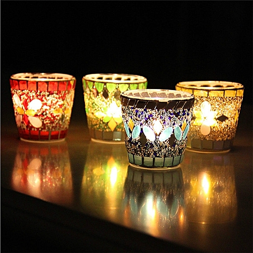 Handicraft Mosaic Glass Beads Sequin Candle Stick Candle Holder Candelabra Home Decor Gift