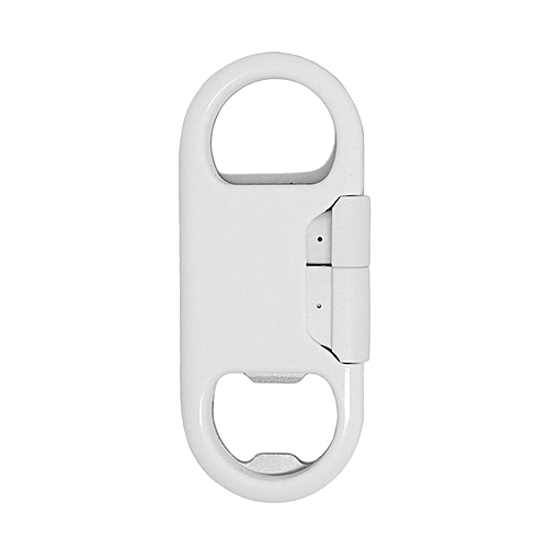 Metal Micro USB Charging Cable Beer Bottle Opener Sync Data Cable Cord White