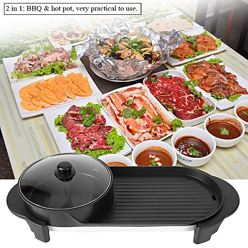 220V 1350W Electric 2 In 1 Hotpot Oven Domestic Smokeless Barbecue Machine Pot
