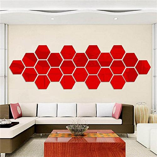 12Pcs Acrylic 3D Hexagon Mirror Wall Stickers Removable Decal Home Art Decor DIY