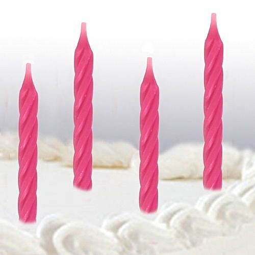 Generic Bright Pink Spiral Birthday Cake Candles 24 Per Pack