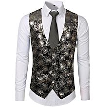 3c7f74cf3328db Fashion Nightclub Style Leisure Vest Velvet Hot Stamping Vest Bronzing  Large Flower Single-breasted Vest