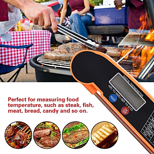 LCD Digital Food Thermometer With Foldable Probe Kitchen Cooking BBQ Grill Temp Tester
