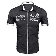 bde26562e39054 Men's Turn Down Collar Short Sleeve Letter Print Casual Denim Shirt-