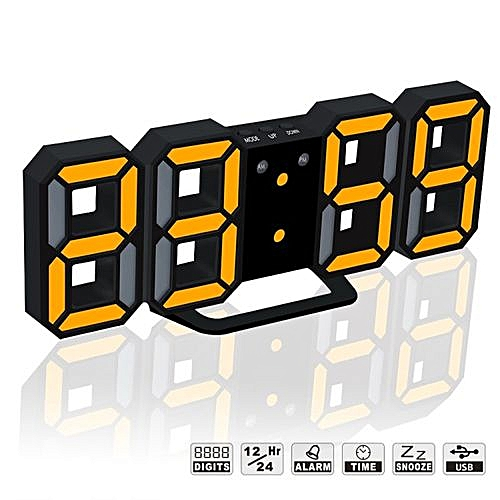 3D LED Digital Clock Table Clock Watches 24 Or 12-Hour Display Alarm Snooze Alarm Clock For Home Room Decal Gift