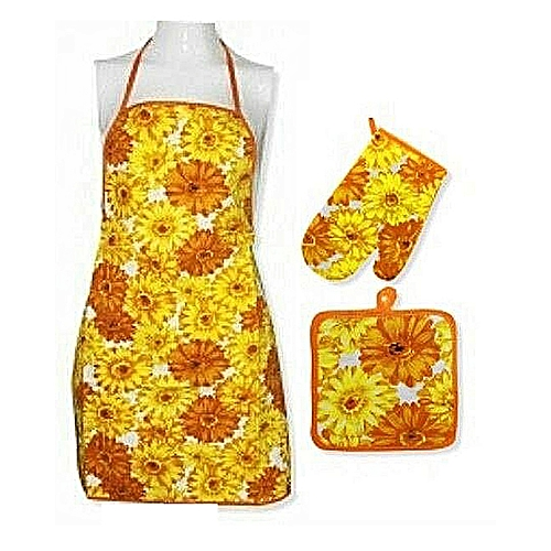 Kitchen Apron With Pot Holder And Mitten Quilted Set- Multicolour...