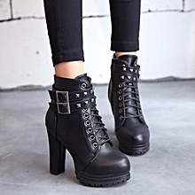 9336b881af53 Fashion Women Ankle Boots Combat High Block Heel Platform Gothic Knight  Preppy Shoes
