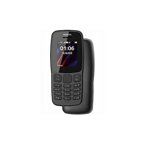 Nokia 106, Dual Sim, 1.8 Display, Micro USB Connector, FM Radio (headset Required), LED Touch, Colour- Dark Grey