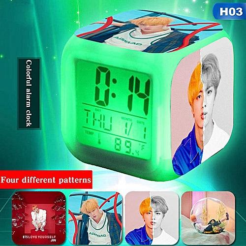 Shinewerop Kpop BTS Fashion Printing Student Practical Boutique Small Alarm Clock