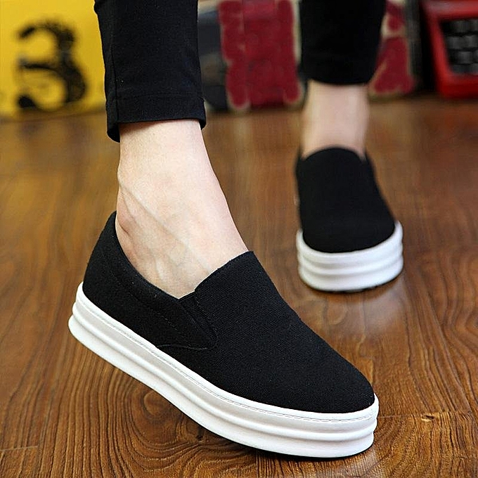 5ef130ef4706 Womens Skateboard Slip Canvas Loafers Platform Sneaker Sport Shoes Hidden  Wedge BLACK
