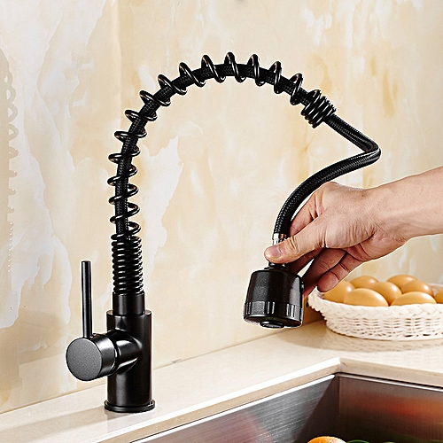 KCASA Kitchen Pull Out Black Finish Flexible Spring Hot And Cold Mixer Taps Deck Mount Swivel Faucet