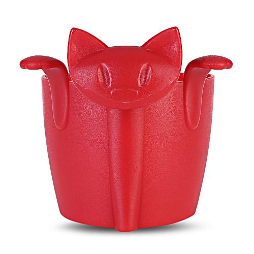 Cat Shape Tea Infuser Plastic Strainer Hole Filter - Red