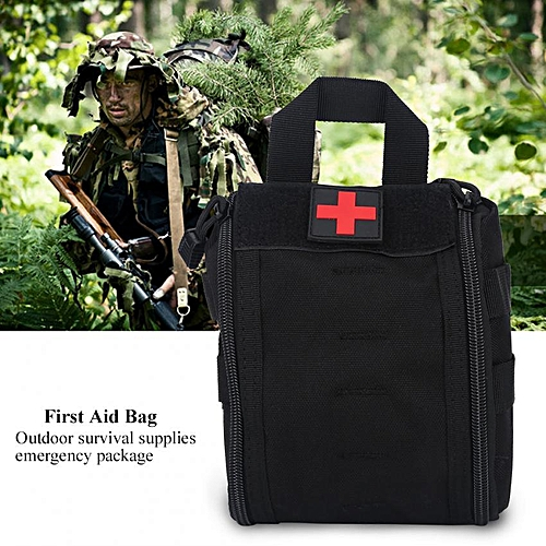 Home Car Emergency First Aid Rescue Survival Bag Trauma Case Medical Tactic Pouch (Black)