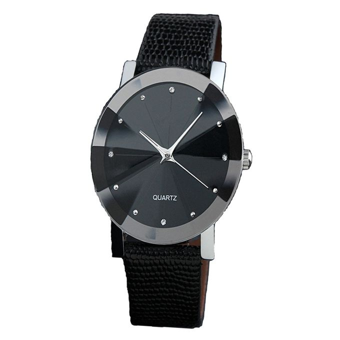 Generic Unisex Diamond-Shaped Leather Watch - Black