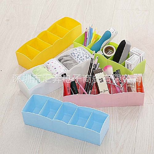 1PC Closet Storage Box Organizer 5 Grids Socks Bra Underwear Organizer Wardrobe Home Plastic Boxes Desktop