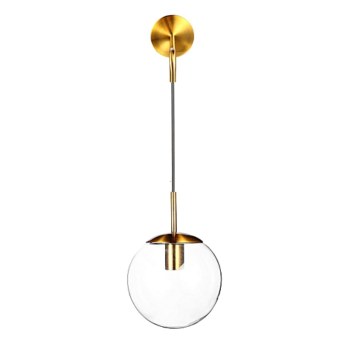 Retro Minimal Clear/Smoky Grey Glass Globe Pendant Indoor Black/Gold Wall Lights#15cm
