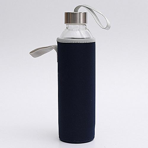 BPA Glass Water Bottle Filter Infuser Protective Bag 550ml Dark Blue