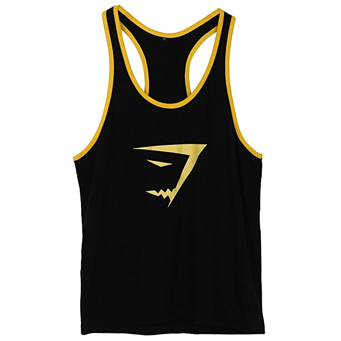 28dc1f1a Men's Sleeveless Stringer Bodybuilding Muscle Workout Gym Tank Top T Shirt (Yellow)