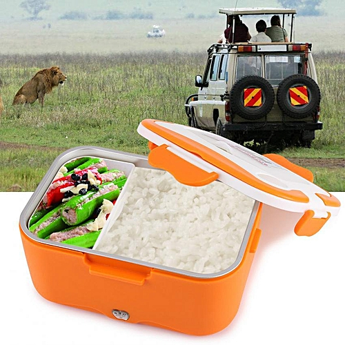 Minxin 1.5L Portable Car Electric Heating Lunch Box Food Warmer Container (Orange 12V)