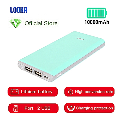 Power Bank 10000mAh Li-Battery Dual USB Port - Blue