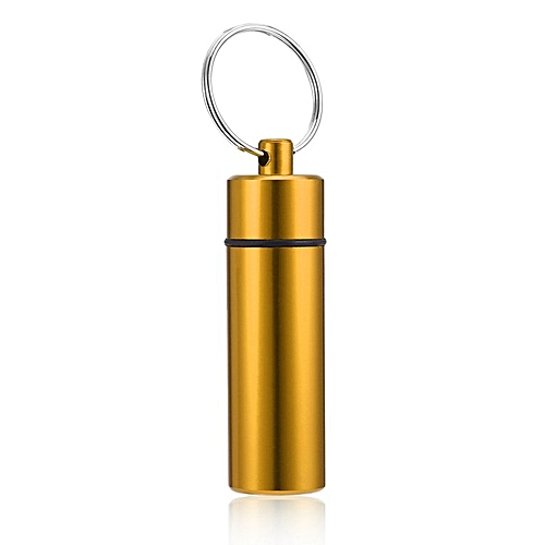 Waterproof Pill Shaped Aluminum Alloy Pill Drug Bottle Holder Container Keychain Yellow