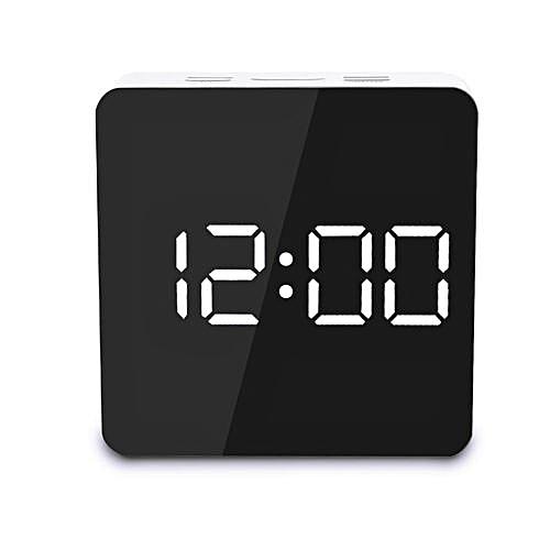 Digoo Mirror LED Digital Snooze Alarm Clock Time Temperature Night Mode Lights Square