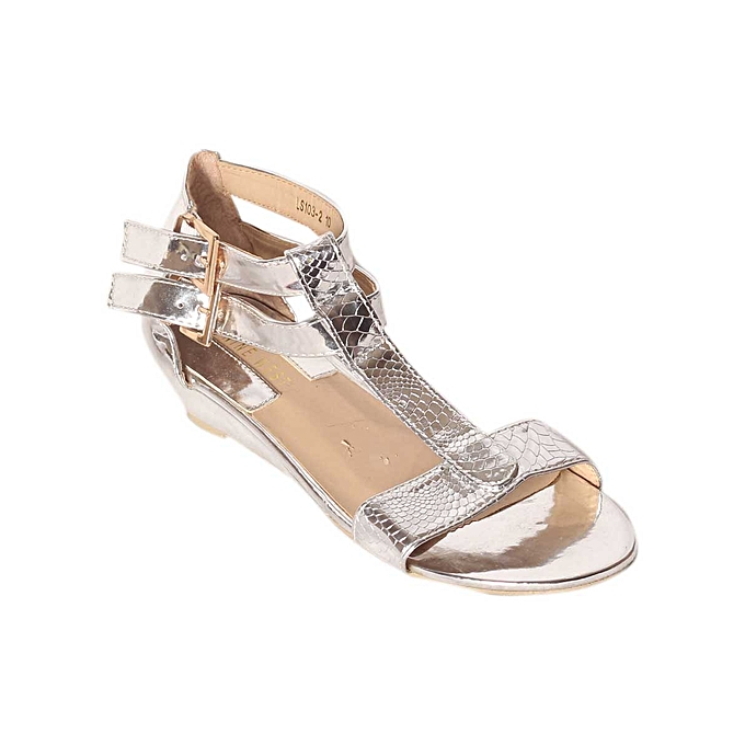 5d896f427a Fashion Ladies Low Wedge Sandal - Silver | Jumia NG