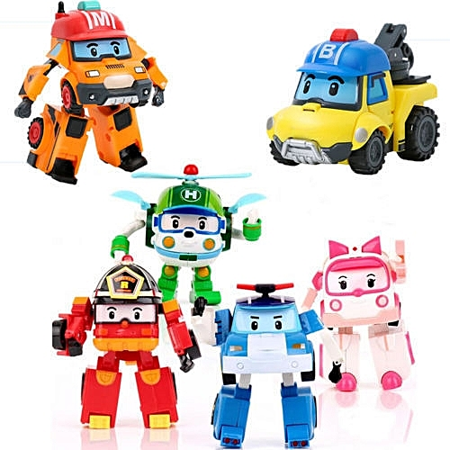 Generic 6pcs Robocar Poli Transformation Robot Car Toys South Korea